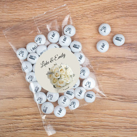 Personalized Wedding Candy Bag with JC Chocolate Minis - White Roses