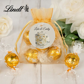 Personalized Wedding Lindt Truffle Organza Bag- White Roses