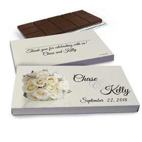 Deluxe Personalized Wedding White Roses Wedding Belgian Chocolate Bar in Gift Box (3oz Bar)