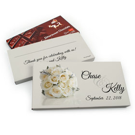 Deluxe Personalized Wedding White Roses Wedding Belgian Chocolate Parve Bar in Gift Box (3.5oz Bar)