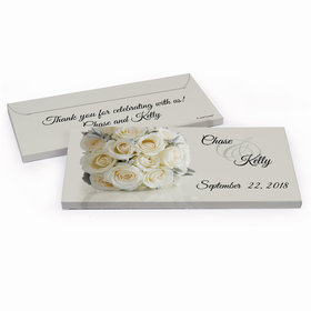 Deluxe Personalized White Roses Wedding Hershey's Chocolate Bar in Gift Box