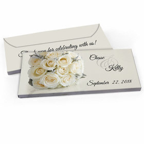 Deluxe Personalized White Roses Wedding Candy Bar Favor Box