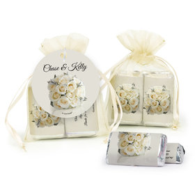 Personalized Wedding White Rose Bouquet Hershey's Miniatures in Organza Bags with Gift Tag
