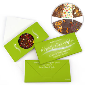 "Personalized ""Happily Ever After"" Wedding Gourmet Infused Belgian Chocolate Bars (3.5oz)"