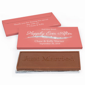 """Deluxe Personalized """"Happily Ever After"""" Wedding Chocolate Bar in Gift Box"""