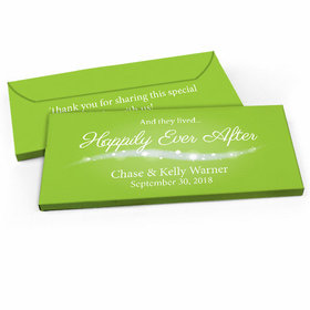 "Deluxe Personalized ""Happily Ever After"" Wedding Candy Bar Favor Box"