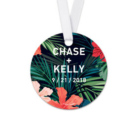 Personalized Tropical Wedding Round Favor Gift Tags (20 Pack)
