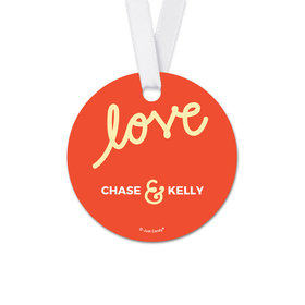 Personalized Script Love Wedding Round Favor Gift Tags (20 Pack)
