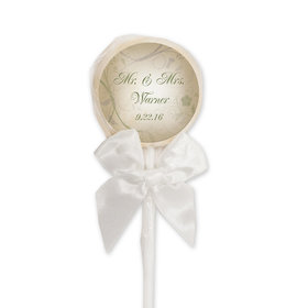 Wedding Favor Personalized White Lollipop Monogram and Leaves (24 Pack)