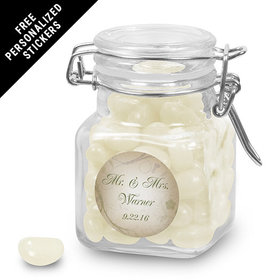 Wedding Favor Personalized Latch Jar Monogram and Leaves (12 Pack)