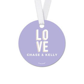 Personalized Bold Love Wedding Round Favor Gift Tags (20 Pack)