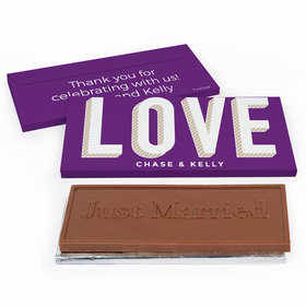 Deluxe Personalized Bold Love Wedding Chocolate Bar in Gift Box