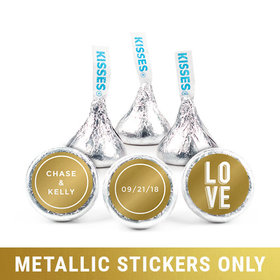 "Personalized 3/4"" Stickers - Metallic Wedding Bold Love (108 Stickers)"