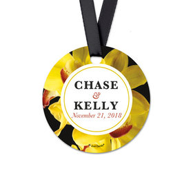 Personalized Bloom Wedding Round Favor Gift Tags (20 Pack)