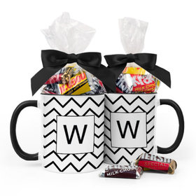 Personalized Wedding Chevron 11oz Mug with Hershey's Miniatures