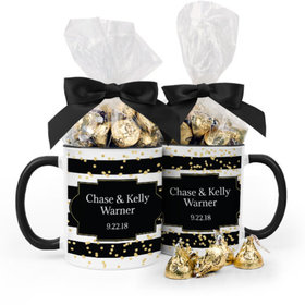 Personalized Wedding Bold Stripes 11oz Mug with Hershey's Kisses