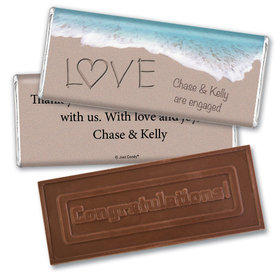 Engagement Party Personalized Embossed Chocolate Bar Sand Writing Love by the Sea