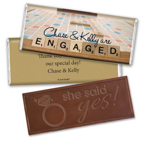 Engagement Party Personalized Embossed Chocolate Bar Scrabble Letters