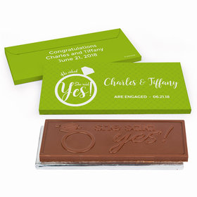 Deluxe Personalized She Said Yes! Ring Engagement Chocolate Bar in Gift Box