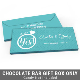 Deluxe Personalized She Said Yes! Ring Engagement Candy Bar Favor Box
