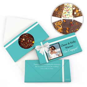 Personalized Engagement Tiffany Bow Engagement Gourmet Infused Belgian Chocolate Bars (3.5oz)