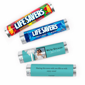 Personalized Engagement Tiffany Style Photo Lifesavers Rolls (20 Rolls)