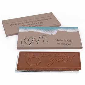 Deluxe Personalized Sand Writing Love by the Sea Engagement Chocolate Bar in Gift Box