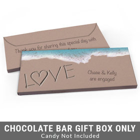 Deluxe Personalized Sand Writing Love by the Sea Engagement Candy Bar Favor Box