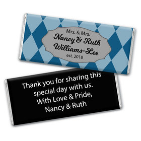 Personalized Chocolate Bar & Wrapper with Gold Foil - Lesbian Wedding Mrs. & Mrs. Regal