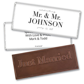 Personalized Gay Wedding To Have & to Hold Embossed Chocolate Bar