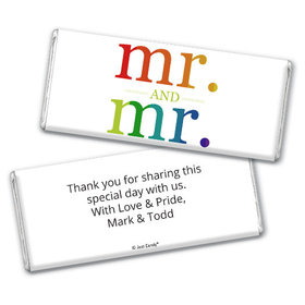Personalized Chocolate Bar & Wrapper - Gay Wedding Mr. & Mr. Rainbow