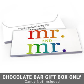 Deluxe Personalized Gay Wedding Mr. & Mr. Rainbow Candy Bar Favor Box