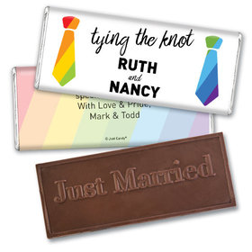Personalized LGBT Wedding Tying the Knot Embossed Chocolate Bar