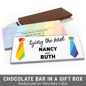 Deluxe Personalized LGBT Wedding Tying the Knot Chocolate Bar in Gift Box