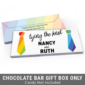 Deluxe Personalized LGBT Wedding Tying the Knot Candy Bar Favor Box