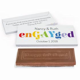 Deluxe Personalized EnGAYged Wedding Embossed Chocolate Bar in Gift Box