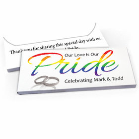 Deluxe Personalized LGBT Wedding Love & Pride Candy Bar Favor Box