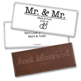 Personalized Gay Wedding Mr. & Mr. Embossed Chocolate Bar