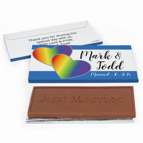 Deluxe Personalized LGBT Wedding Rainbow Hearts Chocolate Bar in Gift Box