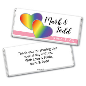 Personalized Chocolate Bar Wrappers Only - LGBT Wedding Rainbow Hearts