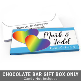 Deluxe Personalized LGBT Wedding Rainbow Hearts Candy Bar Favor Box