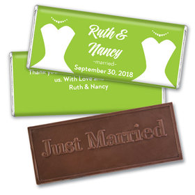 Personalized Lesbian Wedding Bride & Bride Embossed Chocolate Bar