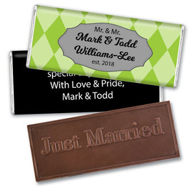 Personalized Gay Wedding Mr. & Mr. Regal Embossed Chocolate Bar