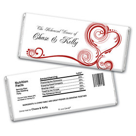 Rehearsal Dinner Personalized Chocolate Bar Swirled Hearts