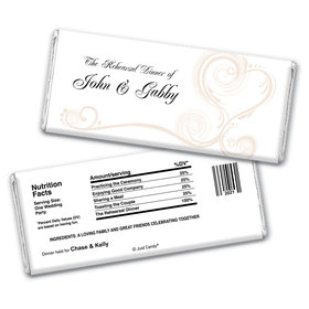 Formal Feast Rehearsal Dinner Favor Personalized Candy Bar - Wrapper Only