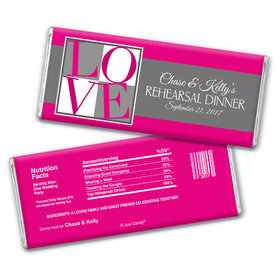 Rehearsal Dinner Personalized Chocolate Bar Pop Art Love Square