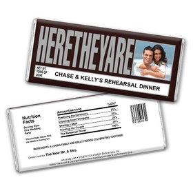 "Wedding Rehearsal Dinner Personalized Chocolate Bar HERETHEYARE ""Here They Are"" Photo"