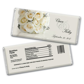 Wedding Rehearsal Dinner Personalized Chocolate Bar White Bouquet