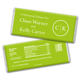 Side by Side Rehearsal Dinner Favor Personalized Hershey's Bar Assembled