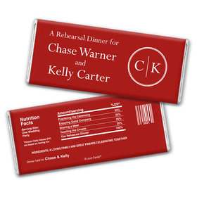 Side by Side Rehearsal Dinner Favor Personalized Candy Bar - Wrapper Only